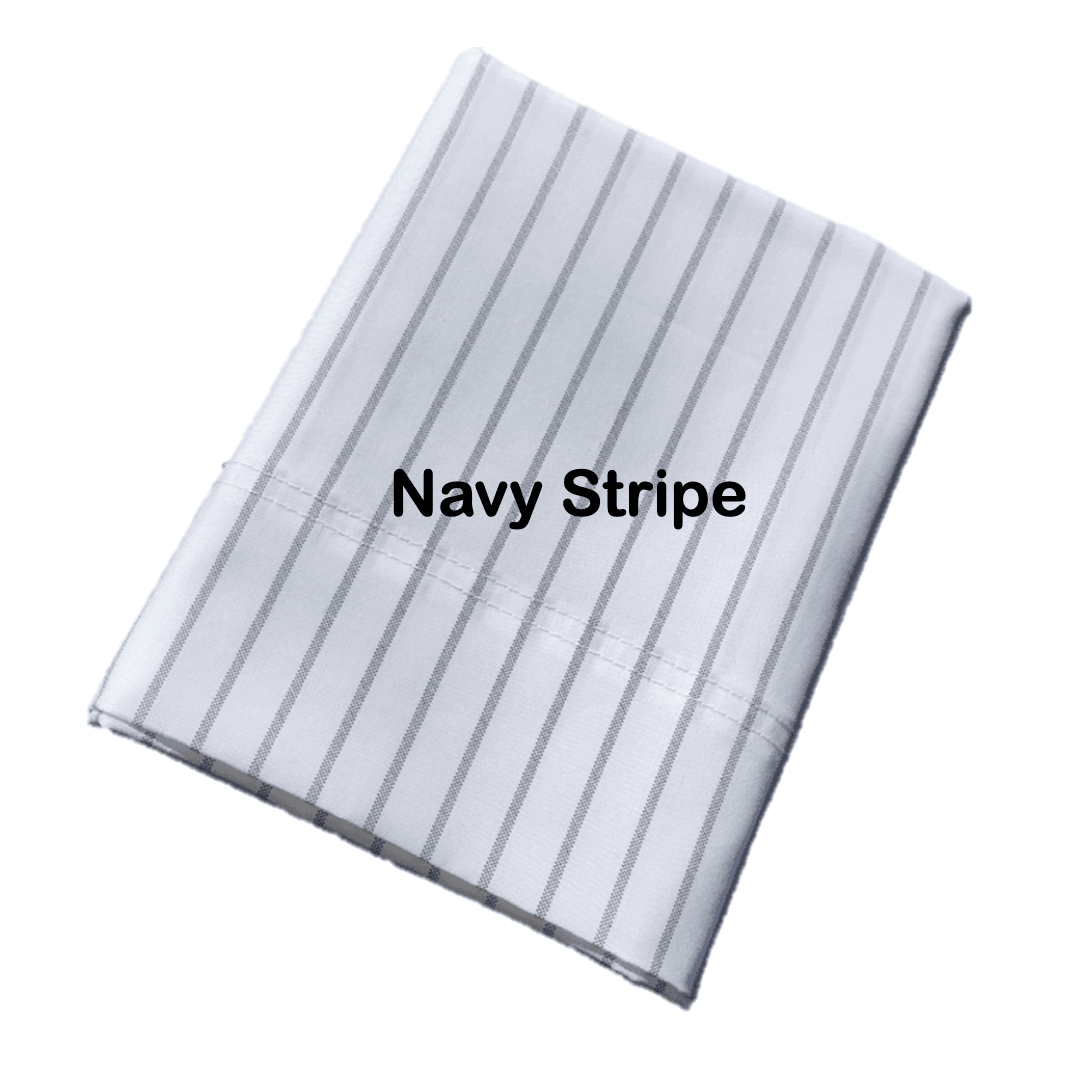 Pillowpacker Pillowcase in navy stripe percale cotton