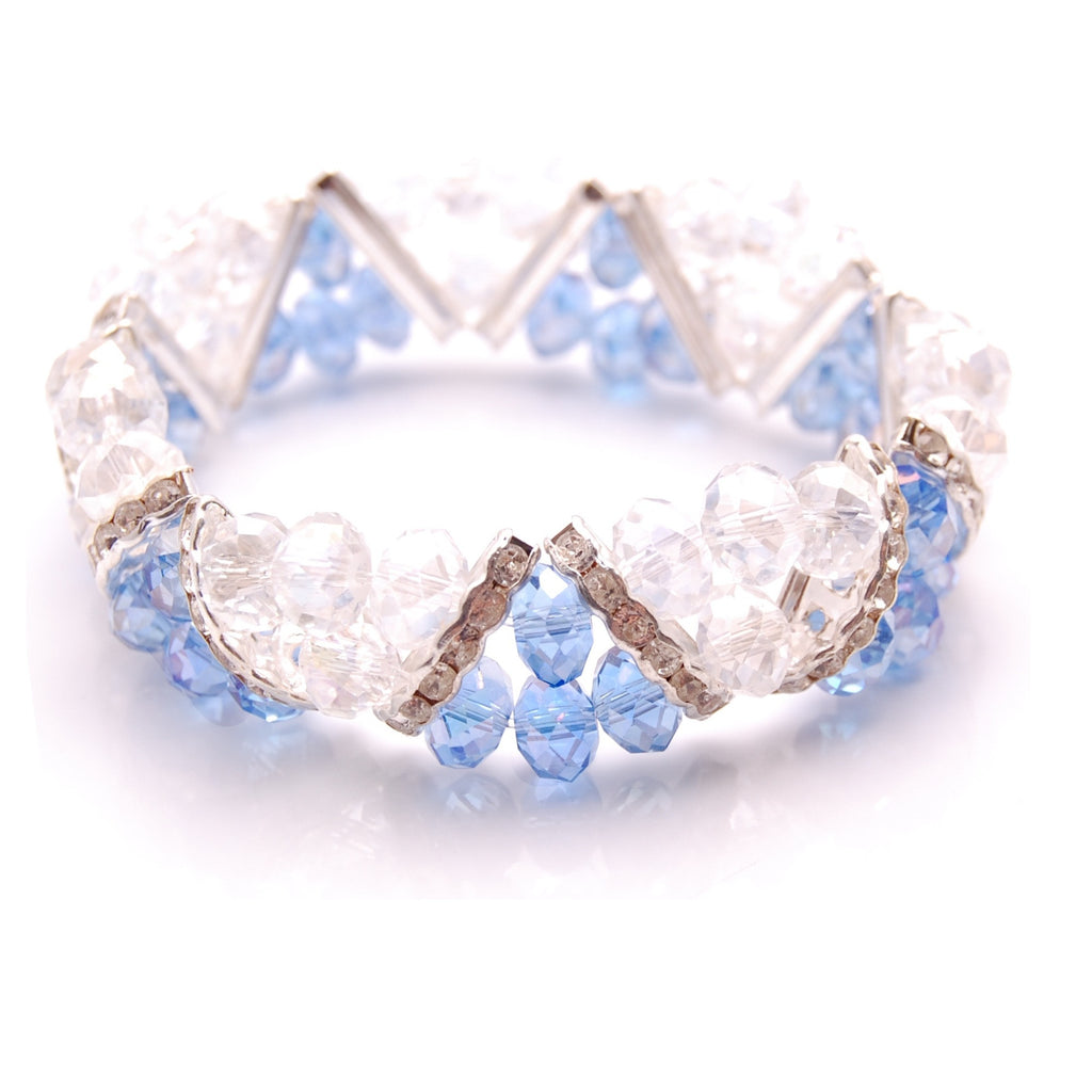 Bleek2Sheek Blue Crystal and Rhinestone Stretch Bracelet