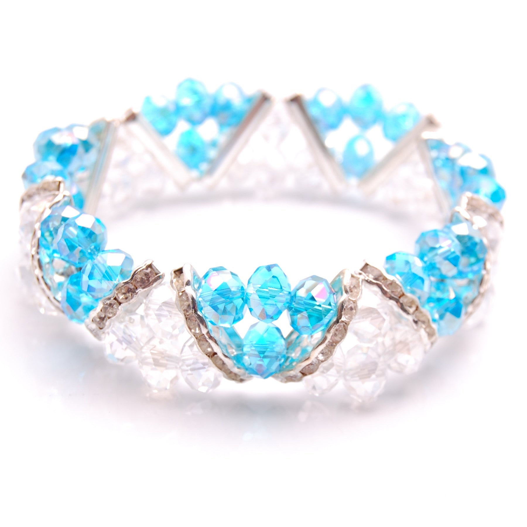 Aqua Blue & Clear Crystal and Rhinestone Stretch Bracelet