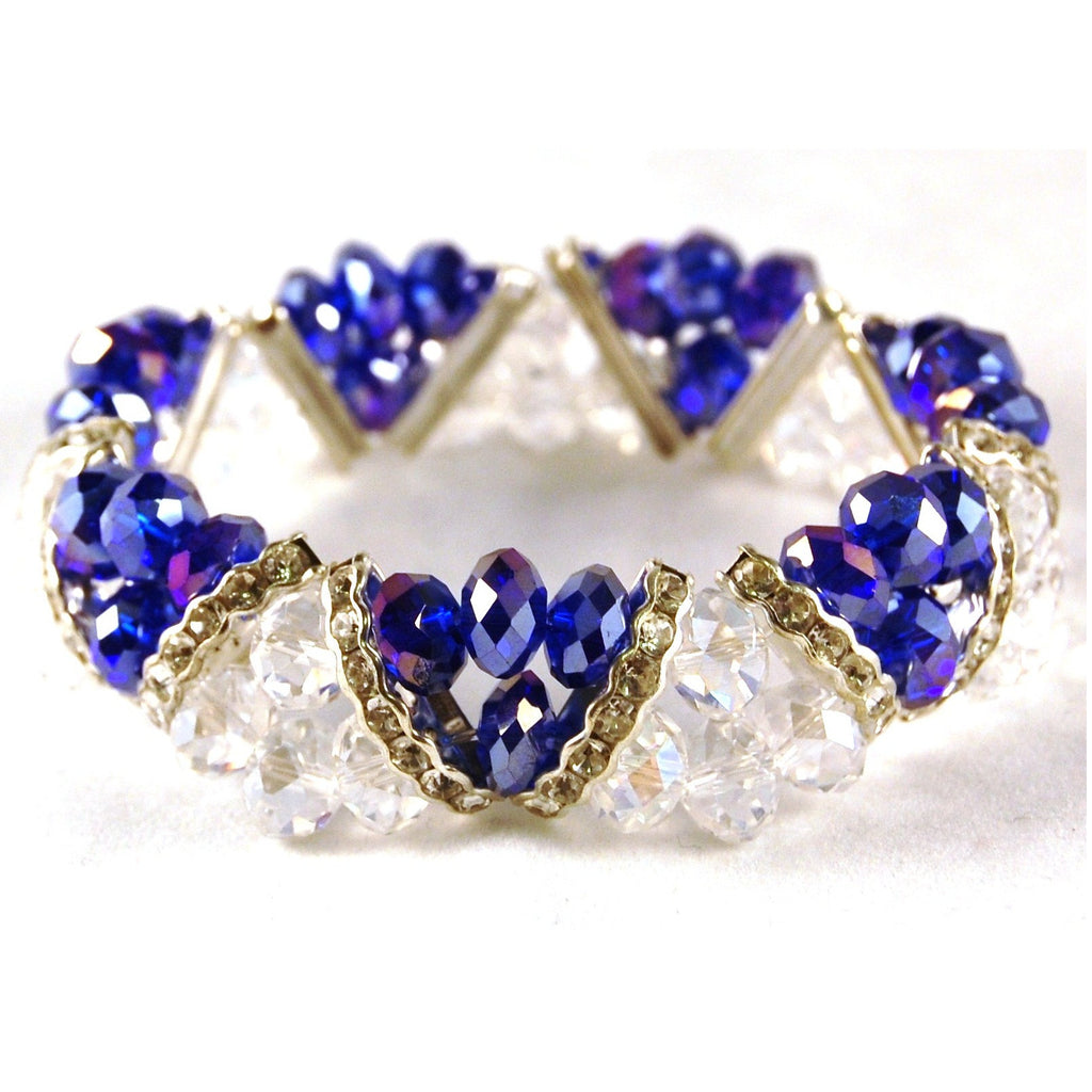 Bleek2Sheek Sapphire Blue & Clear Crystal and Rhinestone Stretch Bracelet