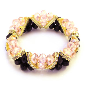 Bleek2Sheek Light pink and Black Crystal Glass and Rhinestone Stretch bracelet