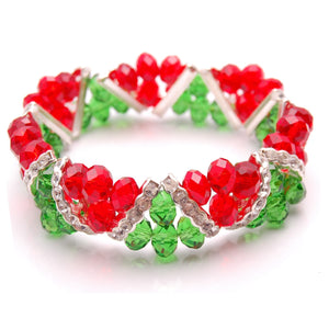 Bleek2Sheek Christmas Red and Green Crystal Glass and Rhinestone Stretch bracelet