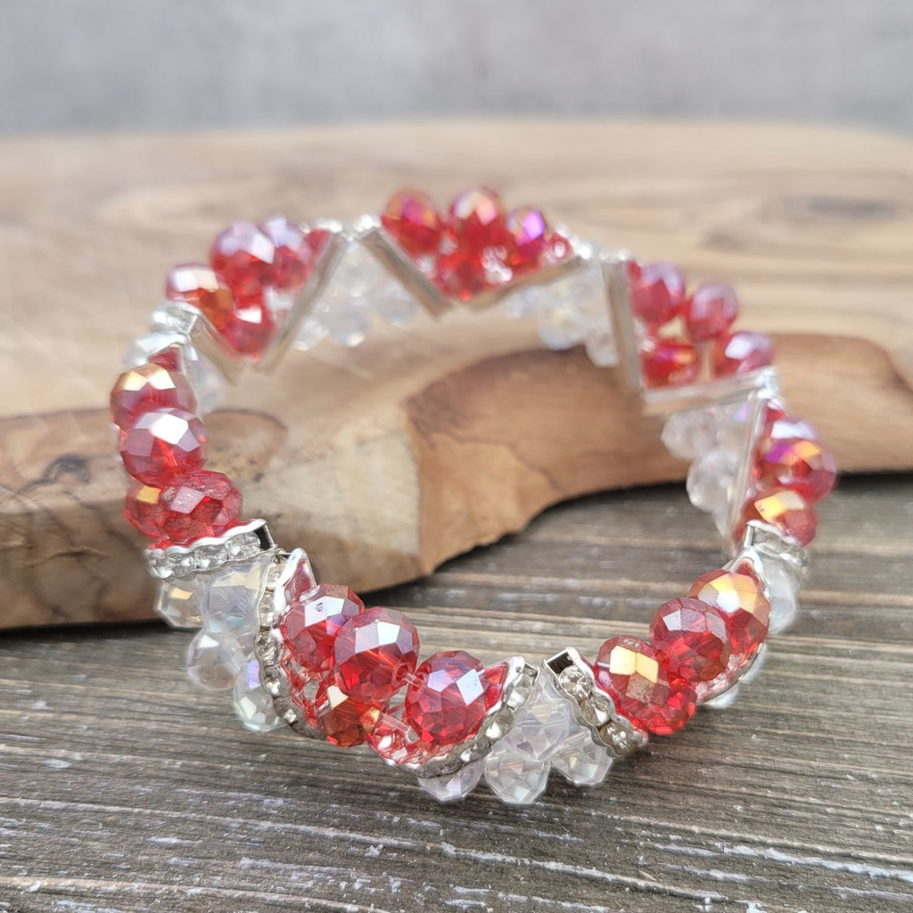 Bleek2Sheek Candy Cane Red and Clear Crystal Glass and Rhinestone Stretch bracelet