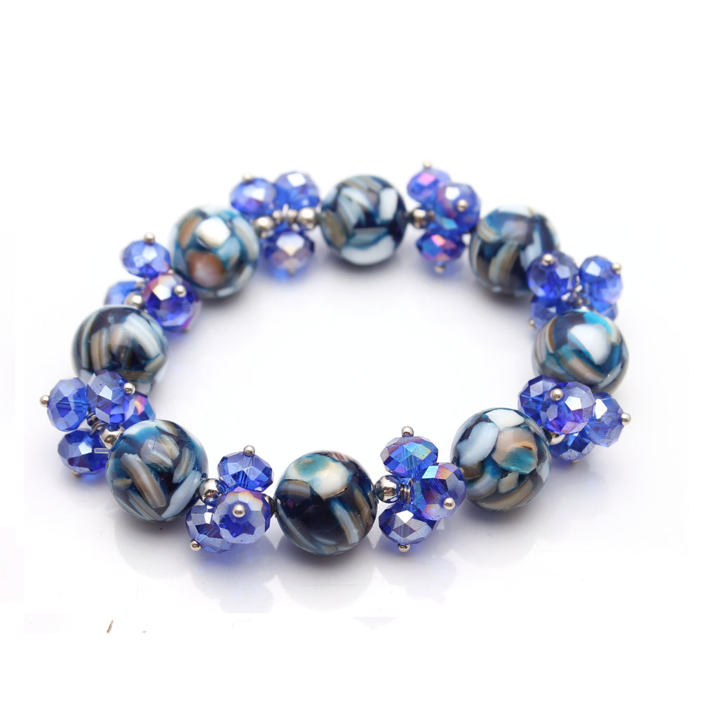 Cobalt Blue Crystal and Mosaic Marble Stretch Bracelet