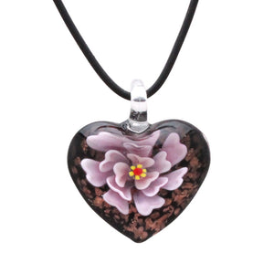 Designer Handmade Murano Inspired Glass - Black, Gold and Pink - Rose Heart Pendant Necklace Set - Fashion Interchangeable Jewelry - Hypoallergenic - Gift Ready