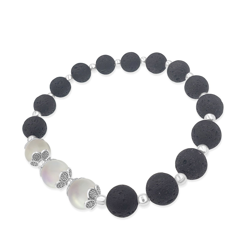 Frosted White Mermaid Glass & Black Lava Stone Stretch Anklet