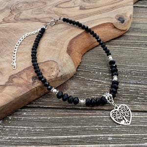 Black Crystal & Silvertone Heart Charm Adjustable Beaded Anklet