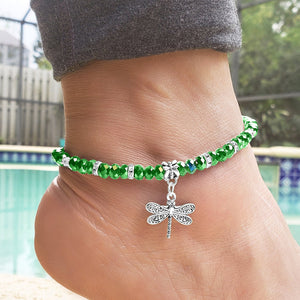 Green Crystal & Silvertone Dragonfly Charm Adjustable Anklet