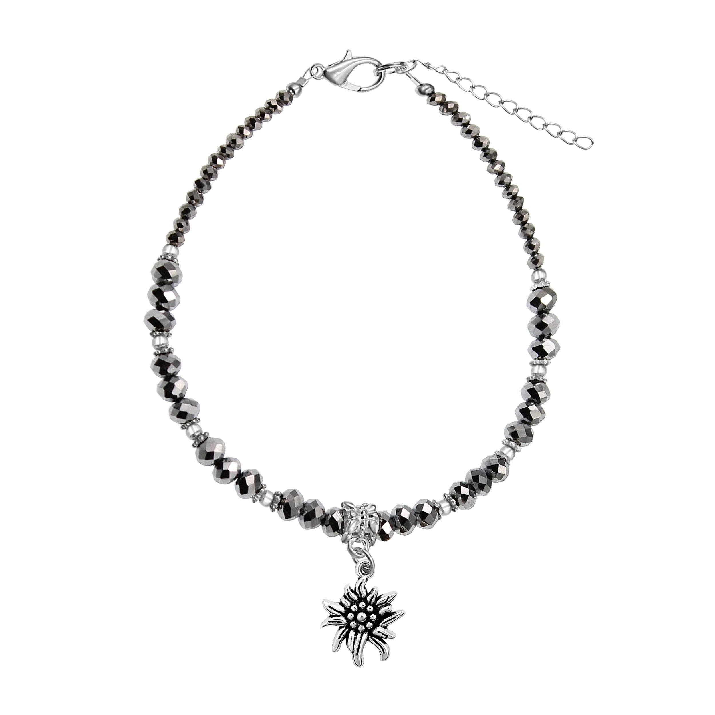 Hematite Crystal & Silvertone Eidleweiss Flower Charm Adjustable Anklet