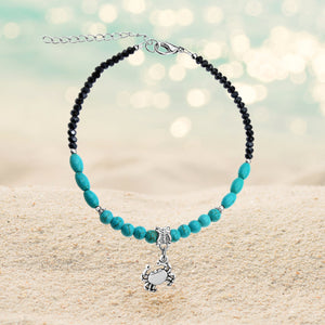Crystal and Turquoise Crab Adjustable Anklet
