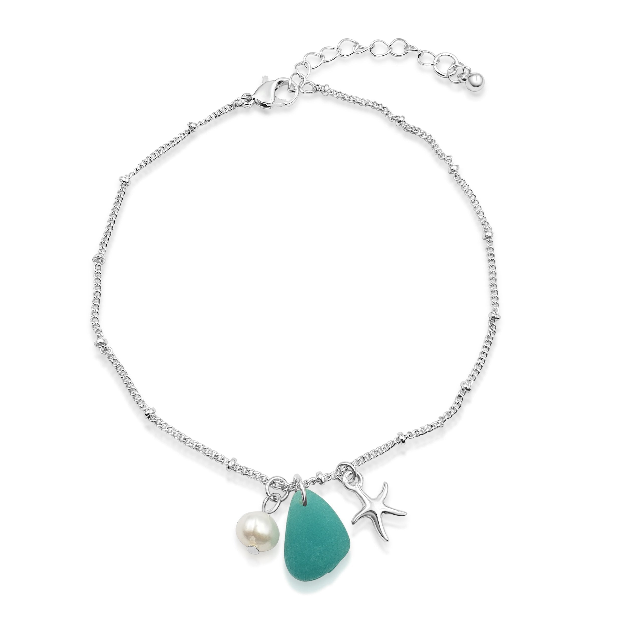 Teardrop Seaglass and SeaStar Anklet
