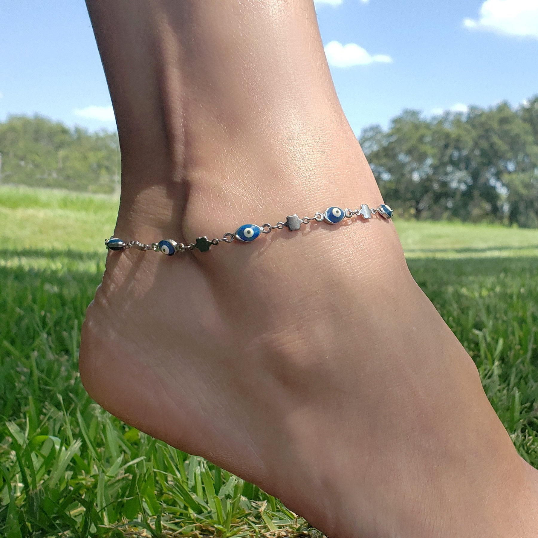Stainless Steel Blue Evil Eye Anklet
