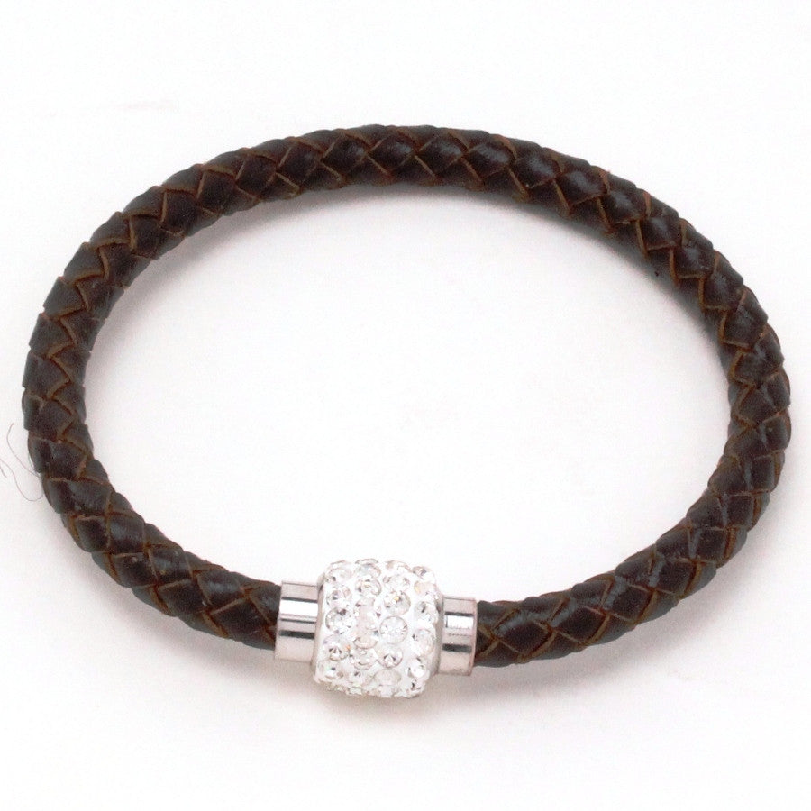 Unisex Braided Leather Magnetic Cuff Bracelet
