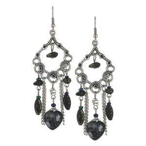 Bleek2Sheek Black Hearts and Flowers Bohemian Dangle Earrings