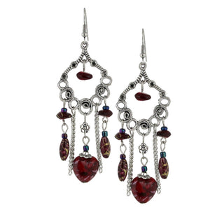 Bleek2Sheek Burgundy wine Hearts and Flowers Bohemian Dangle Earrings