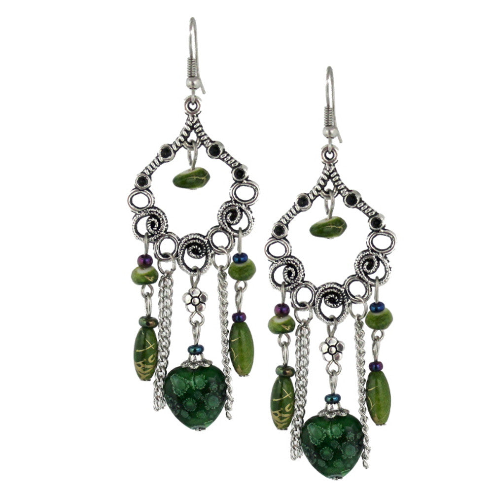 Bleek2Sheek Green Hearts and Flowers Bohemian Dangle Earrings