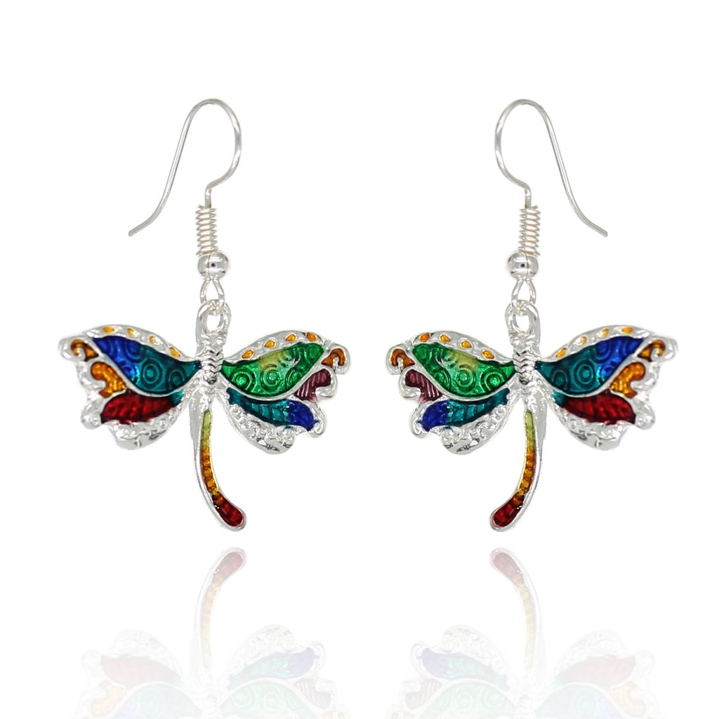 BeSheek Jewelry Hand Painted Silvertone Dragonfly Fashion Earrings