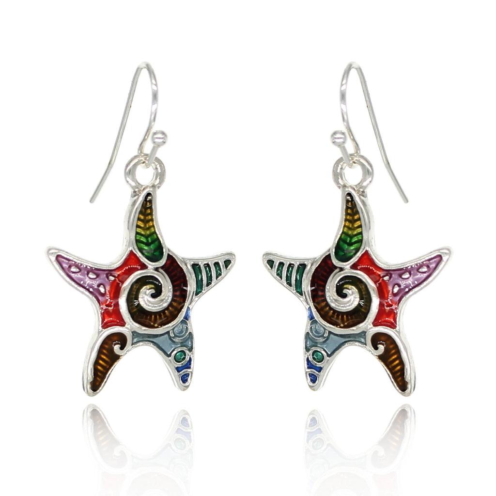 BeSheek Jewelry Hand Painted Silvertone Mosaic Ocean Starfish Fashion Earrings