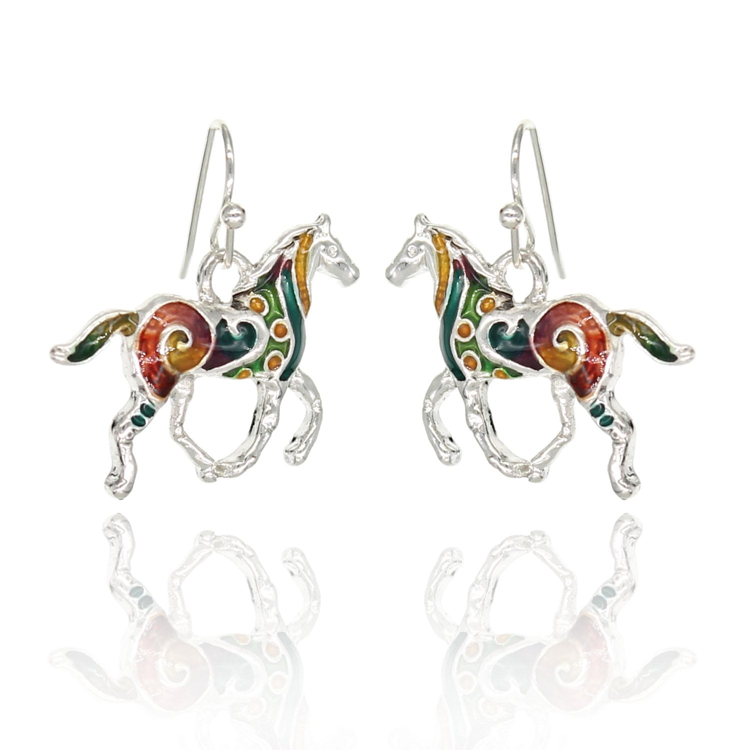 BeSheek Jewelry Hand Painted Silvertone Mosaic Horse Fashion Earrings