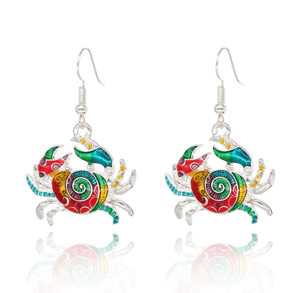 BeSheek Jewelry Hand Painted Silvertone Mosaic Ocean Crab Fashion Earrings
