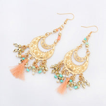 Double Tier Goldtone & Tassel Boho Chandelier Drop Statement Earrings