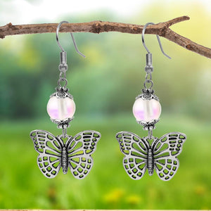 Silvertone Butterfly with Frosted Mermaid Clear Beaded Dangle Earrings