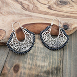 Handmade White & Silvertone Filigree Key Latch Drop Earrings