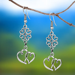 Sterling Silver Clover and Dual Hearts Earrings