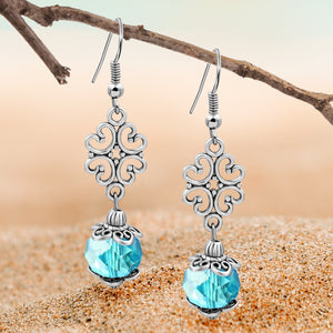Silvertone Ornament and Aqua Crystal Dangle Earrings