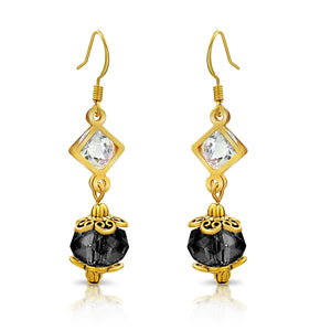 Goldtone Diamond and Black Crystal Dangle Earrings