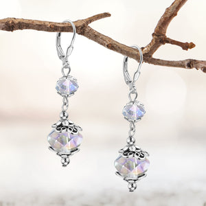 Silvertone Stainless Steel Clear AB Crystal Leverback Dangle Earrings