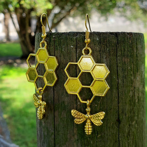 Goldtone Honeycomb Flower with Bee Dangle Earrings