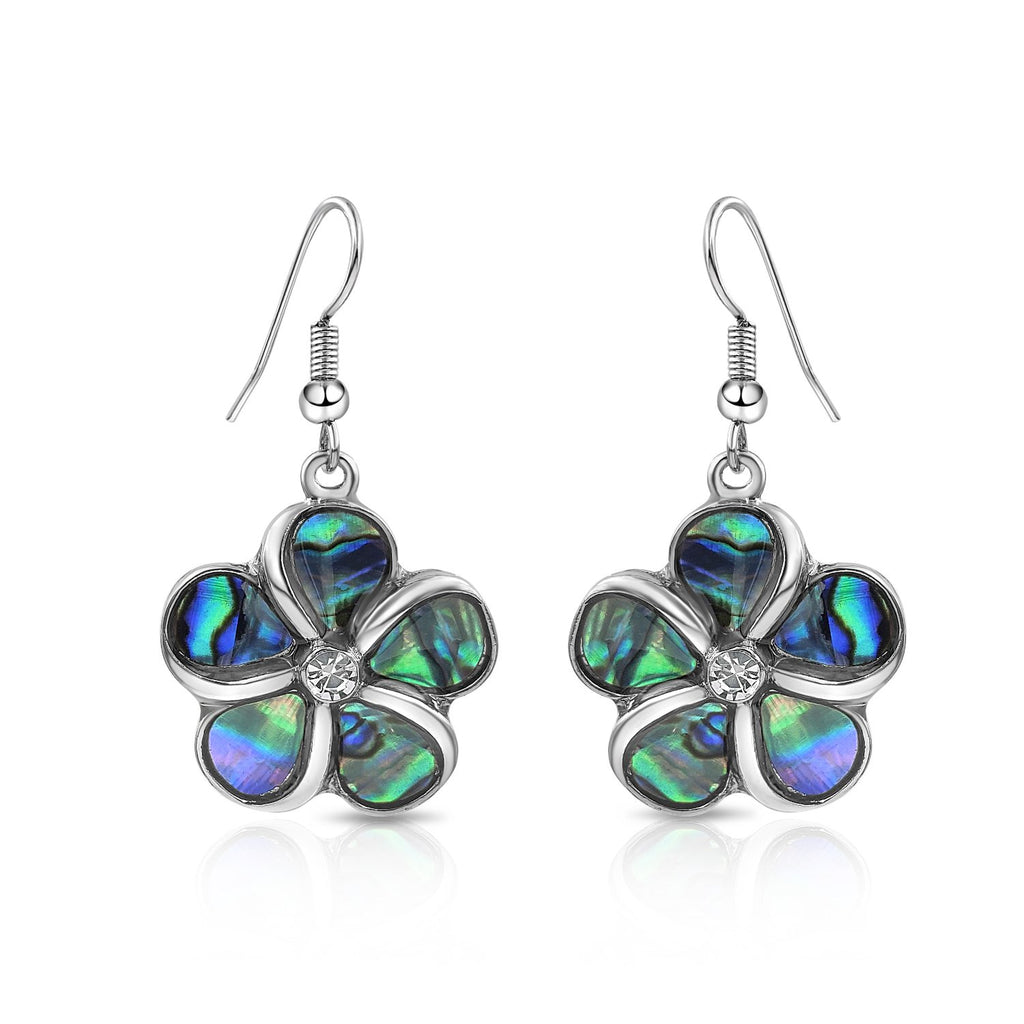 Abalone Flower Earrings with Rhinestone