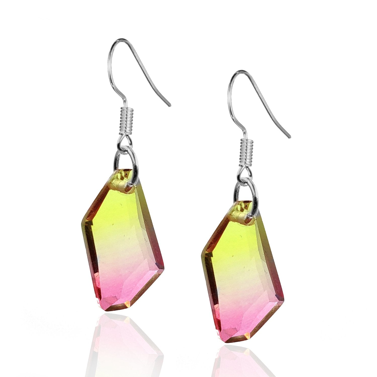 Sterling Silver Pink and Yellow Crystal  Earrings