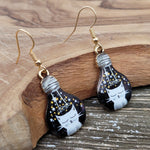 Handmade Black & White Kitty Cat in Light Bulb Drop Earrings