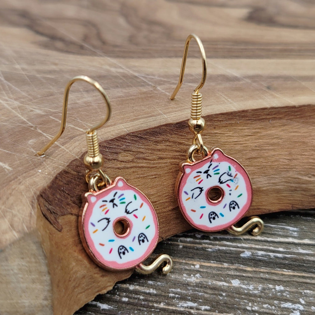 Gold Plated Pink Donut Kitty Cat Dangle Earrings