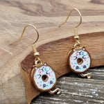 Gold plated White and Brown Donut Kitty Dangle Earrings