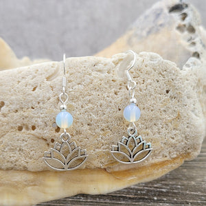 Sterling Silver, Moonstone and Lotus Dangle Earrings