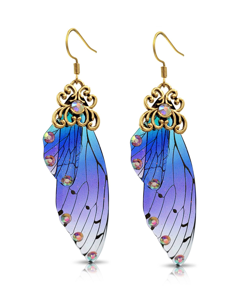Antique Gold Blue & Purple Resin Butterfly Wings with Rhinestones
