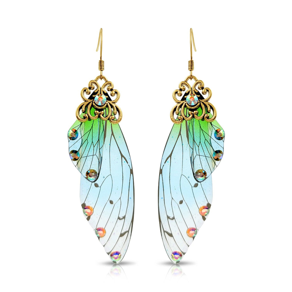 Antique Gold Blue & Green Resin Butterfly Wings with Rhinestones.