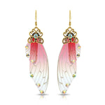 Antique Gold Red & Pink Resin Butterfly Wings with Rhinestones