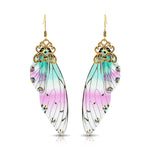 Antique Gold Blue & PInk Resin Butterfly Wings with Rhinestones