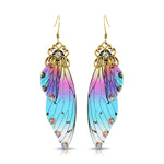 Antique Gold Blue, Pink & Purple Resin Butterfly Wings with Rhinestones