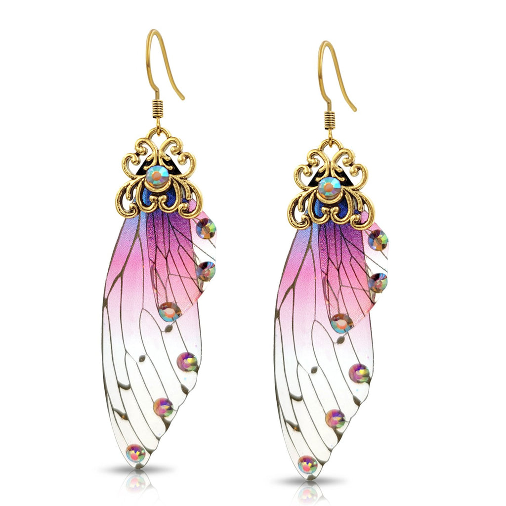 Clear, Pink and Purple with gold flecks Butterfly Wing Resin Earrings