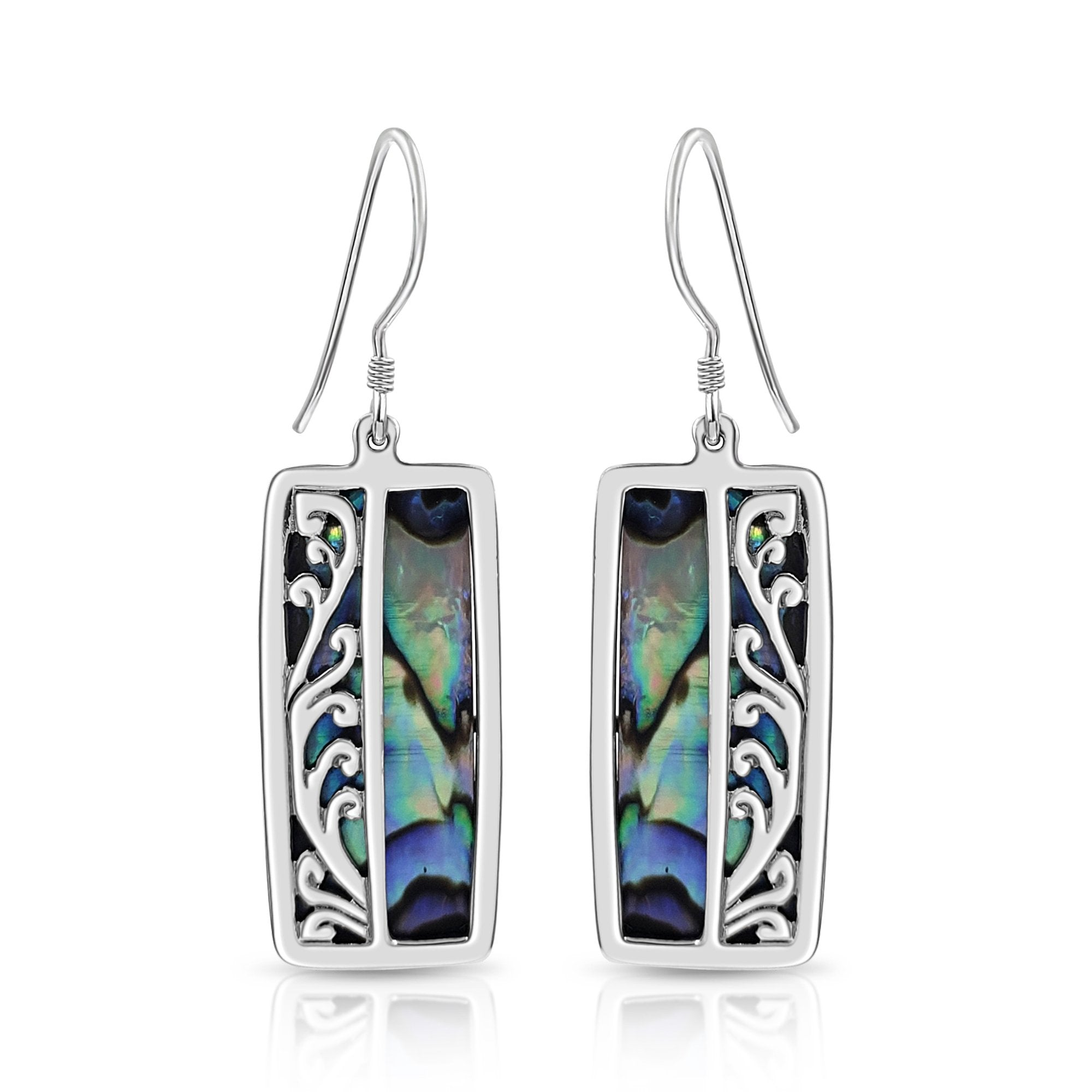 Sterling Silver and Abalone Shell Silver Scroll Earrings
