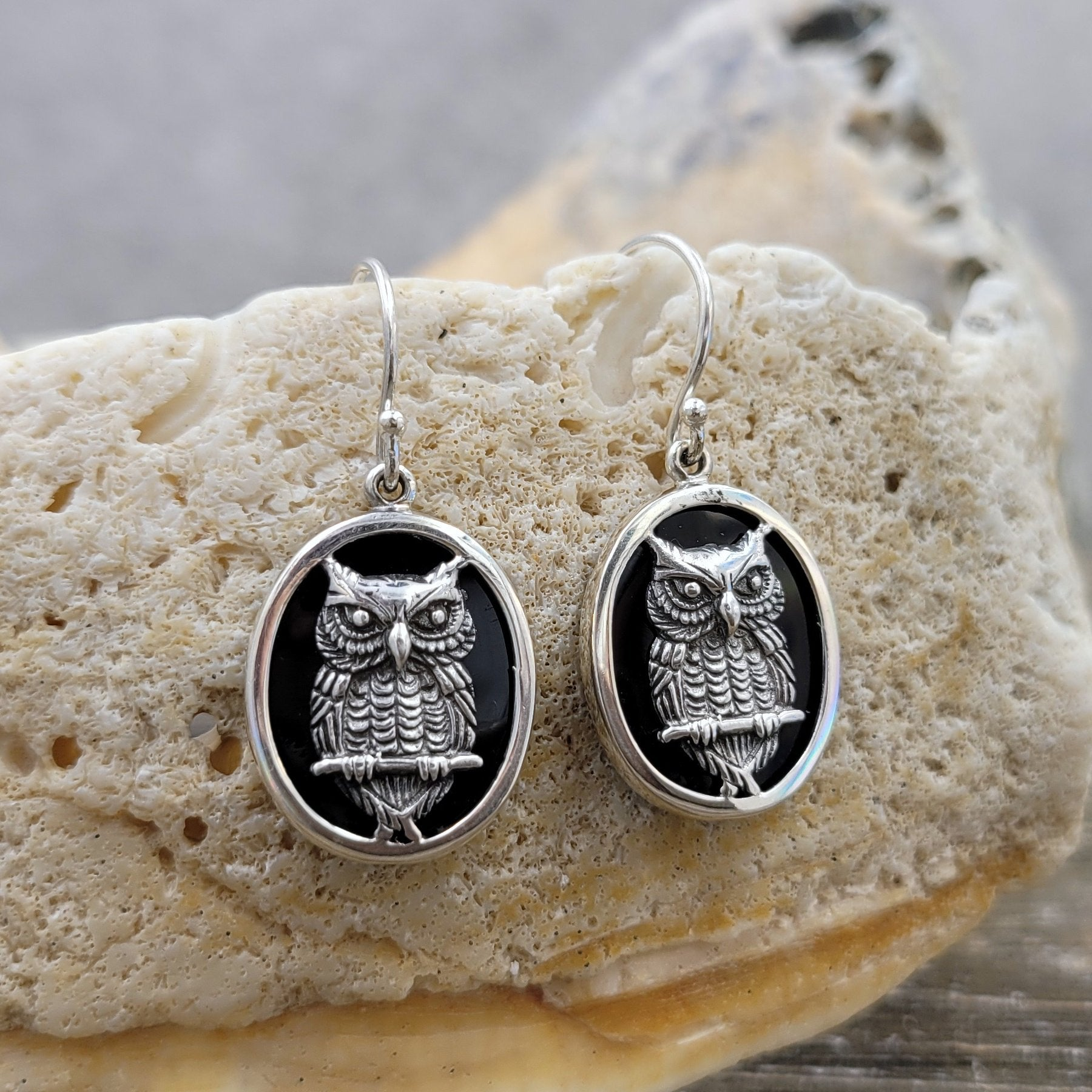 Sterling Silver and Onyx Wise Owl Oval Drop Earrings