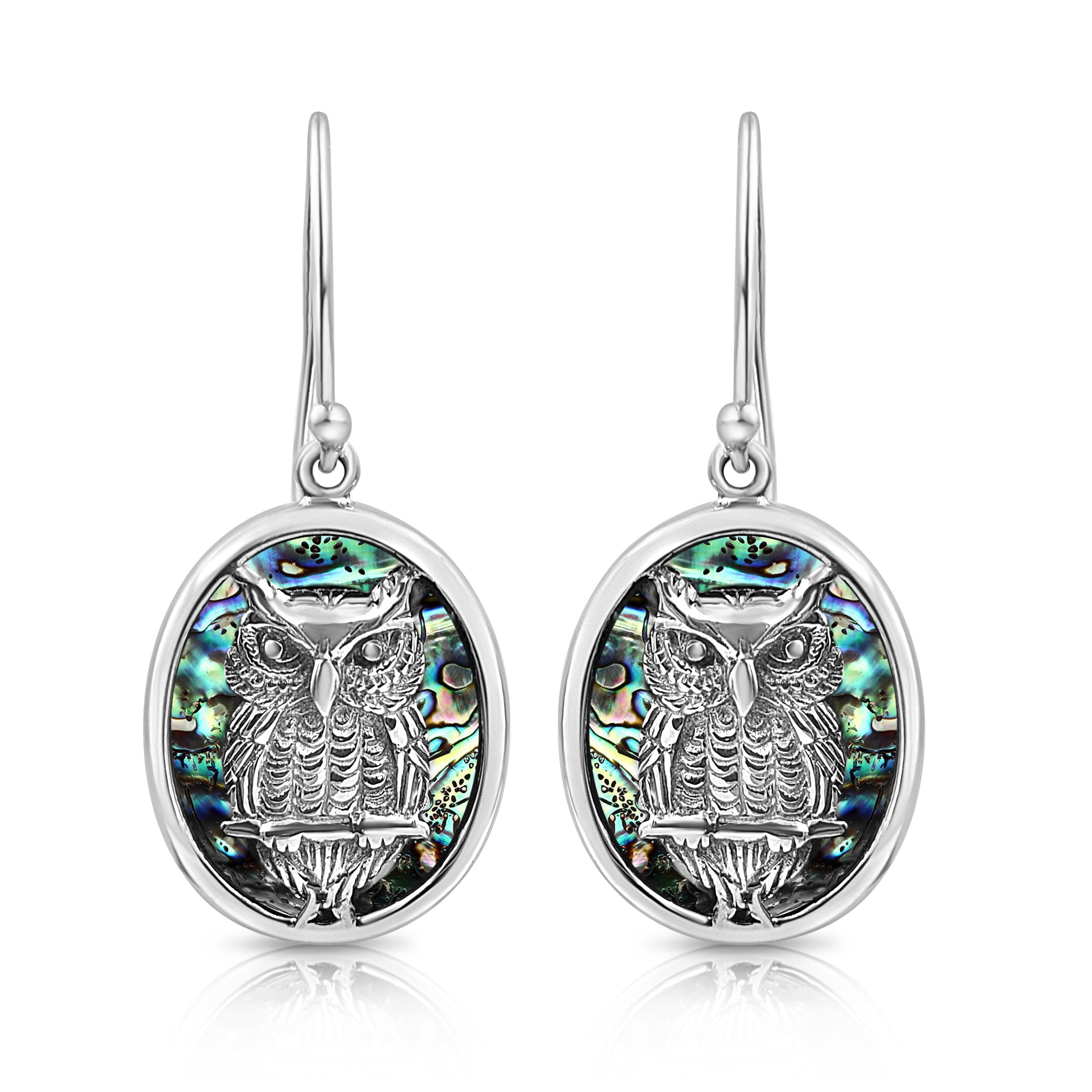 Sterling Silver and Paua Shell Wise Owl Oval Drop Earrings