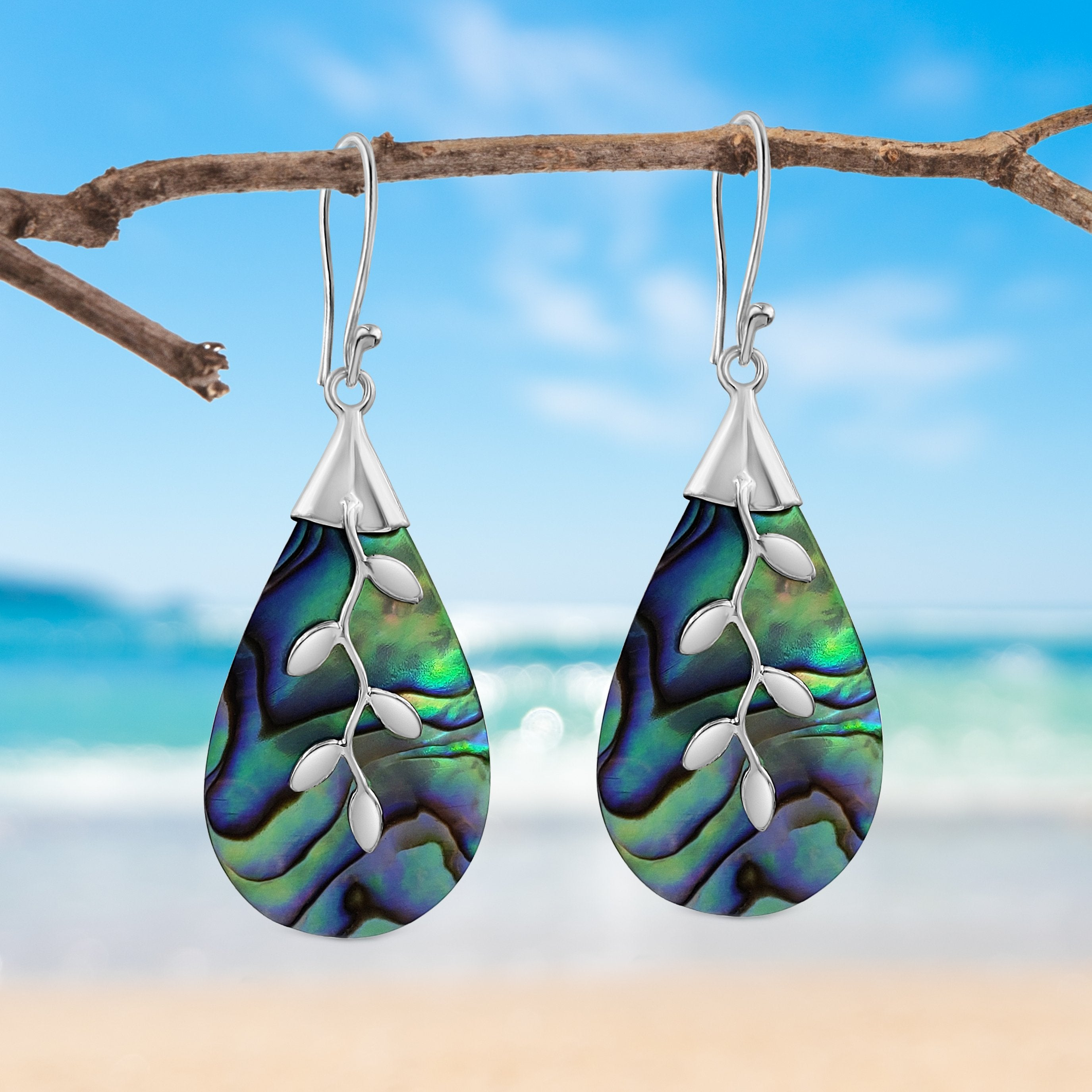 Sterling Silver Paua Shell with Vine Drop Earrings