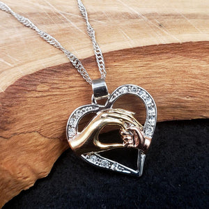 Silvertone Loving Hands Necklace