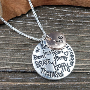 "Silvertone Two tone ""Be"" Necklace"